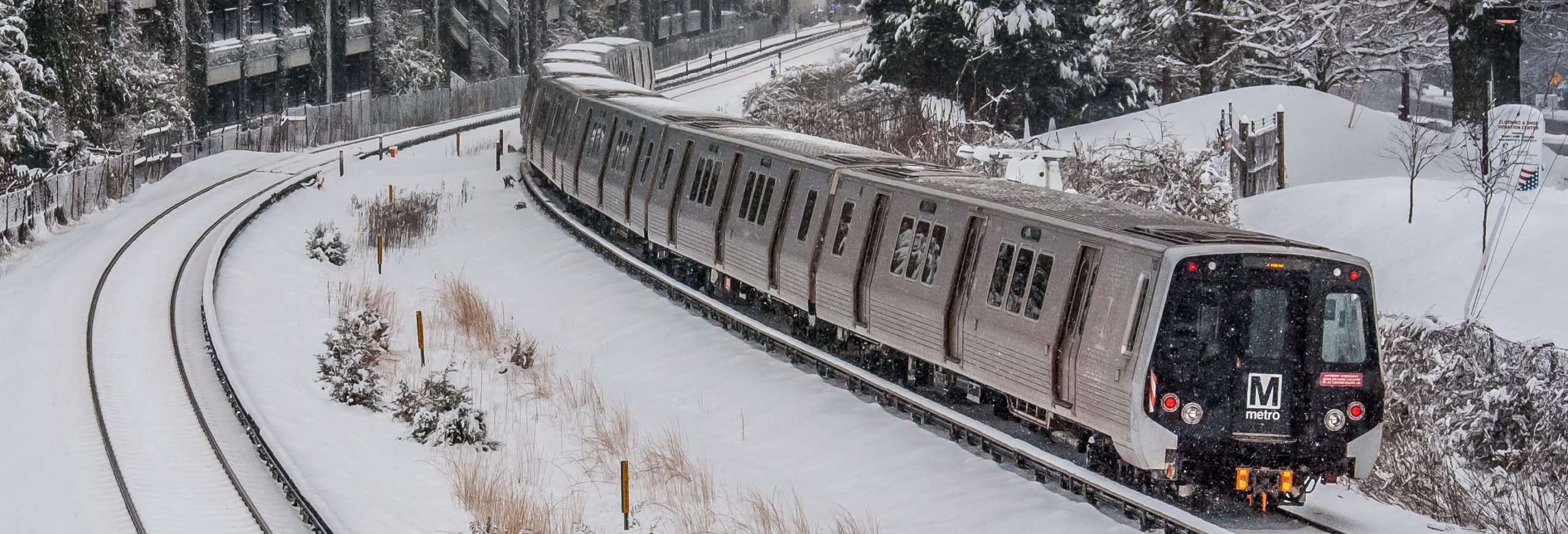 Metro train during the winter